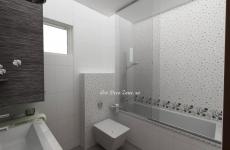 <h5>Decoruri in baie </h5><p>Un brau decorativ orizontal separa decorurile de cada simpla. Acesta da un aer mai vesel, legand cromatic baia de livingul cu tapet floral.</p>
