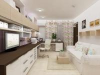 <h5>Dormitor de oaspeti</h5><p>Biroul este creat in culori contrastante, un crem lucios pentru zona de sertare si o nuanta inchisa de wenge pentru blatul dublu. </p>