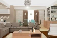 <h5>Living intr-un apartament spatios</h5><p>Livingul acesta apartine unei amenajari foarte reusite, cu accente de turcoaz - click pentru detalii</p>