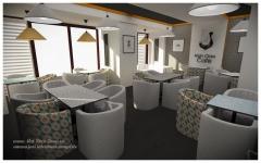 <h5>Salon</h5><p>Salonul principal al cafenelei este reamenajat doar prin retapitarea fotoliilor existente, zugraveala, tapet, interventii minore la tavan.</p>
