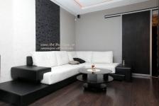 <h5>Living alb negru</h5><p>Livingul este decorat in alb negru, iar in completare si usa glisanta din PAL am executat-o in ton. </p>