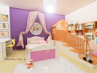 <h5>Dormitor de fetita cocheta</h5><p>In dreapta patutului cu baldachin este o casuta de joaca spatioasa. </p>