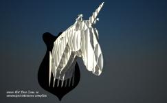 <h5>Unicorn</h5><p>Sculptura personalizata propusa de designerii nostri este un cap de unicorn creat din placi de plexiglass.</p>