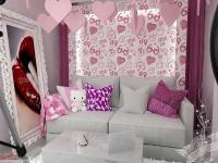 <p>Fereastra este acoperita cu un panou decorat cu tapet personalizat iar din tavan plutesc inimioare. </p>