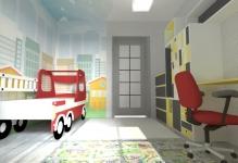 <h5>Camera baietel</h5><p>Camera baiatului este decorata cu tapet personalizat cu cladiri, iar intreaga tematica este urbana. </p>