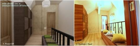 <h5>Design proiect 3D / realitate</h5><p>In hol am propus un dulap voluminos si o lada de depozitare pentru a nu aglomera dormitoarele. </p>
