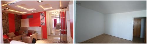 <h5>Before & after</h5><p>Zona de living cu canapea extensibila inainte de a fi amenajata si dupa amenajarile interioare complete.</p>