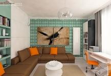 <h5>Contrast</h5><p>In living, un contrast indraznet este creat intre verdele tapetului si oranj-ul de accent. </p>