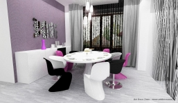 <h5>Masa rotunda in dining</h5><p>Zona de dining este in armonie cu livingul, masuta rotunda fiind o acompaniata de formele fluide ale scaunelor. Nota de culoare este data de accentele lila.</p>