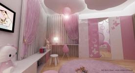 "<h5>Dormitor cu norisori</h5><p>Pe tavan ""plutesc"" doua scafe cu norisori, iar in fundal se vede un dressing larg cu 4 usi decorate cu fluturasi decupati din plexiglass.</p>"