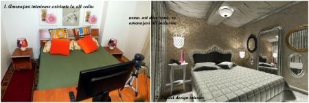 <p>Comparatie spatiu existent amenajat cu pat, vs. propunerea designerilor nostri pentru camera de lucru cu pat. </p>