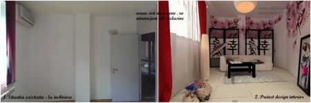 <p>In stanga imaginea cu spatiul inchiriat, in dreapta imaginea cu propunerea noastra de amenajare, stil japonez, investitie minima. </p>