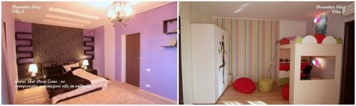 <h5>Dormitor etaj - comparatie</h5><p>La etaj in vila 1 este dormitorul matrimonial iar in oglinda, in cealalta vila este amplasat dormitorul unei fetite. </p>