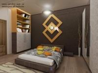 <h5>Dormitor culori calde</h5><p>In fundal este propus tapet cu o nuanta de maron- sidefat, peste acesta este montat obiectul decorativ din mdf. </p>