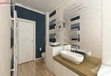 <h5>Baia simpla</h5><p>In baie este o combinatie de faianta cu placaje uni de albastru alaturi de structura de lemn ale gresiei. </p>