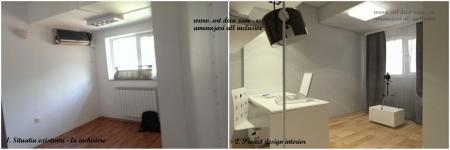 <p>Camera de birou, in stadiul de inchiriere si propunerea noastra de amenajare camera videochat. </p>