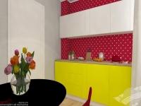 <p>Camera de bucatarie este amenajata intr-un stil pop art, plin de culoare, un interior pentru o fata jucausa si creativa. </p>