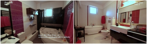 <h5>Baie matrimoniala - comparatie</h5><p>Obiectele sanitare din cele doua bai sunt amplasate diferit, fiind modificate instalatiile. </p>