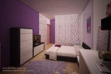 <h5>Dormitor romantic</h5><p>Camera adolescentei familiei este in nuante de mov si lila cu un tapet cu flori gratioase. </p>