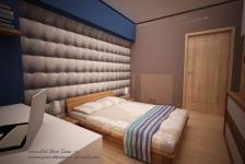 <h5>Albastru cu bej</h5><p>O combinatie inspirata de culori este intre nuantele reci de albastru si bejurile din mobilier, parchet si tapet. </p>