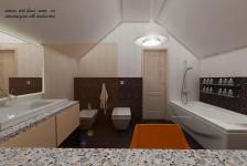 <h5>Sala baie</h5><p>Acest dormitor mic, a fost transformat in baie, cu bideu si Wc, o cada spatioasa, dar si masuta de machiaj.</p>