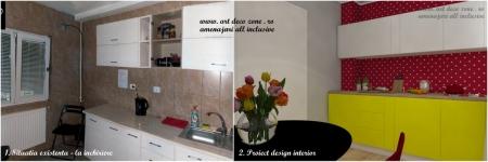 <p>Amenajarea interiorului bucatariei a fost facuta tot pentru camera de lucru. Comparatie initial vs. proiect. </p>