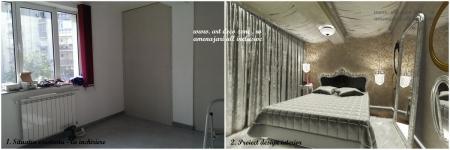 <p>Camera videochat, inainte si dupa: spatiul din santier vs. proiect de design interior.</p>
