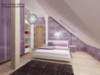 <h5>Dormitor in mansarda</h5><p>Camerele sunt mici si mansardate. Pe latura inalta am optat pentru un dulap mare de haine cu usi glisante. </p>