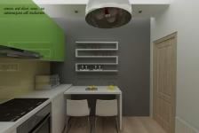 <h5>Mobilier din MDF</h5><p>In bucatarie avem un mic loc de luat masa, pentru mic dejun, in plus fata de diningul din living. </p>
