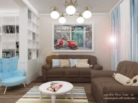 <h5>Tablou retro</h5><p>In aceasta propunere 3D am prezentat o alta nuanta pentru canapele si un alt design pentru tabloul din spate.</p>