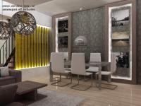 <h5>Dining elegant</h5><p>Tablourile monocrome din dining sunt accentuate cu lumina indirecta. </p>