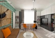 <h5>Living multifunctional</h5><p>In living avem canapea extensibila, depozitare maxima si 2 birouri. Perfect pentru orice preferinte. </p>