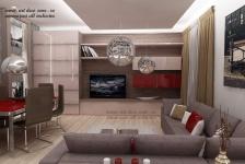 <h5>Design 3D living</h5><p>Living - varianta finala 3D, combinatie de MDF lucios crem cu grena. </p>