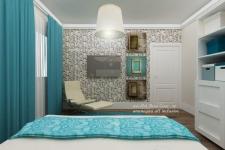 <h5>Tapet in dormitor</h5><p>Pe celalalt perete un sezlong de relaxare si de citit se profileaza imbietor pe fundalul decorat cu tapet. </p>