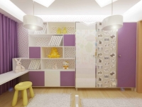 <h5>Mobilier camera fetita</h5><p>Combinatia de lila si alb din mobilier este animata de usa printata.</p>