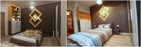 <h5>Proiect 3D versus realitate</h5><p>Imagine din dormitor cu propunerea 3D, virtuala si realizarea amenajarilor si mobilierului la cheie. </p>