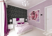 <h5>Tonuri de lila</h5><p>Culoarea dominanta a acestui dormitor sunt tonurile de lila. </p>