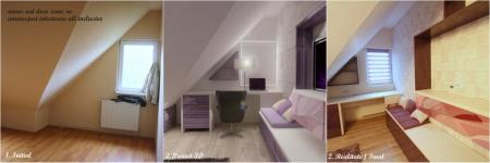 <h5>Birou</h5><p>Incastrare in nisa a biroului in dormitorul matrimonial, comparatie imagini initiale la achizitie, imagini virtuale 3D si realizare finala.</p>
