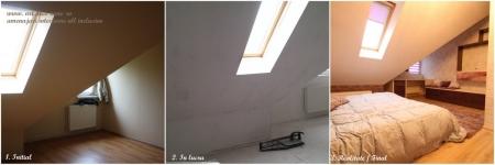 <h5>Comparatie inainte / dupa amenajari</h5><p>Imagini comparative din dormitor, la achizitie, in timpul amenajarilor interioare si la finalizarea proiectului. </p>