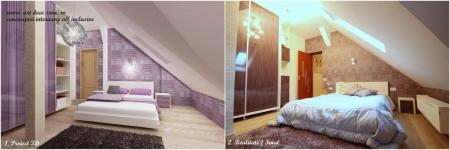 <h5>Dormitor matrimonial 3D si real</h5><p>Comparativ imagini 3D si punerea in practica a amenajarii, decorarii si mobilierului la comanda.</p>