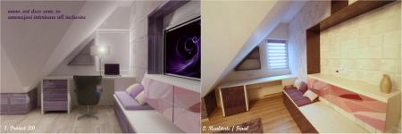 <h5>Duplex 3D vs. realitate</h5><p>Amenajare colt birou, mobilier croit pe necesitatile mansardei pentru a se integra cat mai practic. </p>