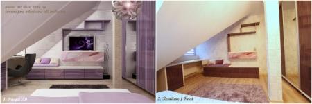 <h5>Dormitor proiect vs. realitate</h5><p>Usile de la comoda TV au fost printate la comanda cu o imagine abstracta, ca si cand ar fi un tablou. </p>