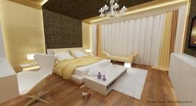 <h5>Dormitor matrimonial luxos</h5><p>In nuante aurii, plin de decoratiuni luxoase, acest dormitor are un aer regal. </p>