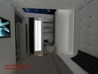 <h5>Tetiera pat</h5><p>Tetiera patului este inalta, creata la comanda, ca si mobilierul din intreaga casa, mulandu-se pe nevoile proprietarului. </p>