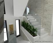 <h5>Casa scarilor</h5><p>Scarile sunt simple, iar peretii sunt placati cu piatra. Balustrada are un aspect minimalist, fiind din sticla securizata. Intre scari sunt jardiniere cu plante.</p>