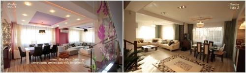 <h5>Living - comparatie</h5><p>Cele doua vile in oglinda au zonele de living si dining amplasate la parter. Pozitia mobilierului este similara, insa difera foarte mult stilul amenajarii.</p>