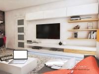 <h5>Mobilierul Tv</h5><p>Zona de Tv este din MDF alb combinat cu o nuanta deschisa de fag natur. </p>