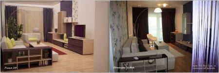 <h5>Living 3D vs. real</h5><p>Comparatie intre proiectul propus (stanga) si executia propriu zisa (dreapta)</p>