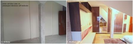 <h5>Dulap incastrat</h5><p>In dormitor, dulapul de haine ia perfect forma peretelui, se muleaza pe stalpul ce iese in relief.  </p>