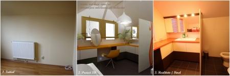 <h5>Baia - dormitor</h5><p>Imagine cu dormitorul initial cu calorifer pe perete, proiectul cu propunerea 3D pentru baie si realizarea finala a baii. </p>